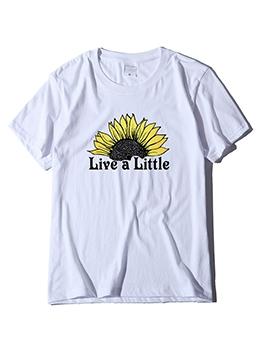 Flower Print Loose Short Sleeve Tee Shirt