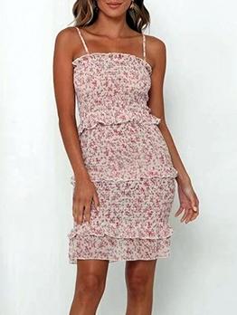 Sexy Ditsy Printed Slip Ruffled Sleeveless Dress