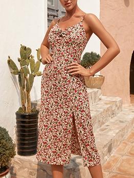 Stylish v Neck Slit Camisole Midi Dress