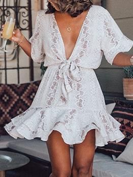 Deep v Half Sleeve Ruffled Summer Dresses