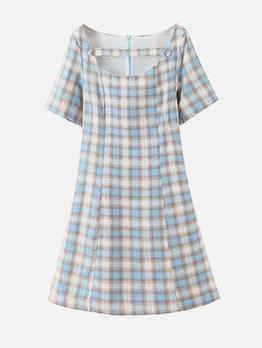 Hot Sale Plaid Short Sleeve Ladies Dress