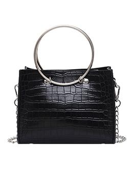 Crocodile Print Metal Ring Handle Chain Shoulder Bags