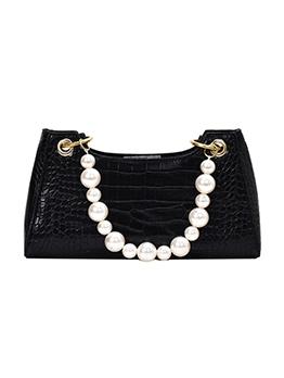 Alligator Print Faux Pearl Handle One Shoulder Bags