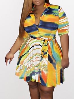 Single-Breasted Short Sleeve Plus Size Print Dress