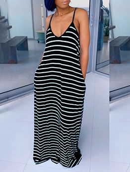 V Neck Sleeveless Loose Striped Maxi Dress Casual