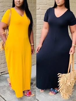 V Neck Solid Loose Short Sleeve Maxi Dress Casual