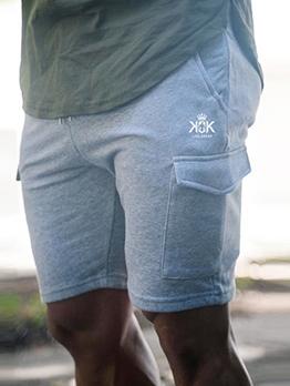 Loose Solid Pockets Drawstring Short Pants