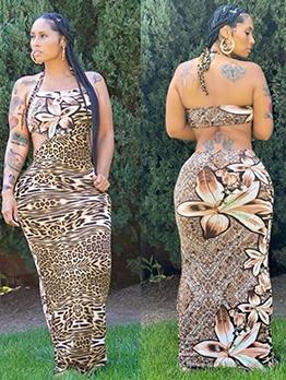 Cut Out Backless Leopard Halter Maxi Dress