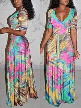 Deep V Neck Large Em Print Maxi Dress Casual