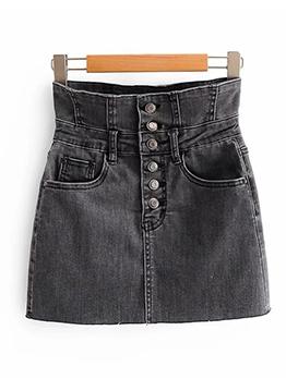 Chic High Wiast Button Fly Short Denim Skirt