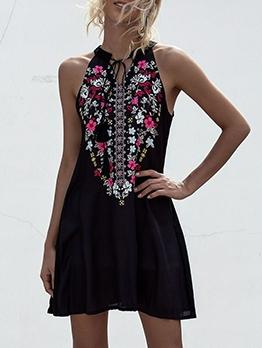 National Print Sleeveless Black A-Line Dress