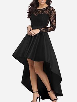 Sexy Lace Patch Irregular Hem Black Maxi Evening Dress