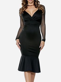 Fishtail Hem Deep V Neck Long Sleeve Bodycon Dress