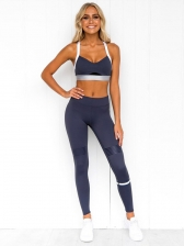Contrast Color Sleevelss High Waist 2 Piece Yoga Clothes