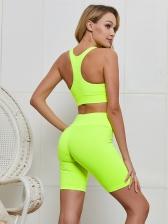 Solid Zipper Sleeveless 2 Piece Yoga Clothes