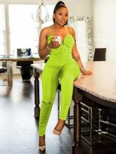 Fashion Design Ruched Spaghrtti Strap Bodycon Jumpsuit