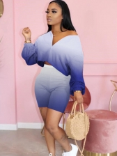 Gradient Color Long Sleeve Crop Top And Shorts Set