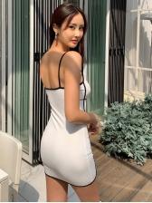 Sexy Contrast Color Slip Sleeveless Dress