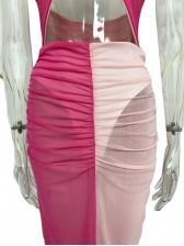Contrast Color Gauze Halter Neck Backless Two Piece Sets