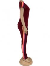 Side Striped Short Sleeve Zipper Two Piece Pants Set