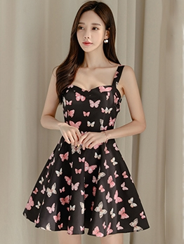 Butterfly Print Sleeveless A-Line Dress Elegant