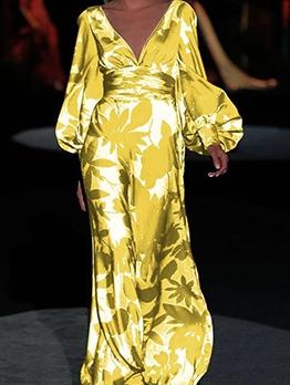 Lantern Sleeve Deep V Neck Print Long Evening Dress