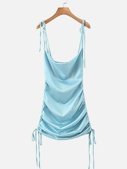 Drawstring Sleeveless Mini Dress For Women