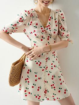 Single-Breasted Short Sleeve Cherry Dress