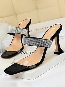Transparent Square Toe Rhinestone Heel Sandal