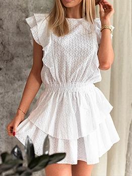 Smart Waist Hollow Out White Boho Short Dress