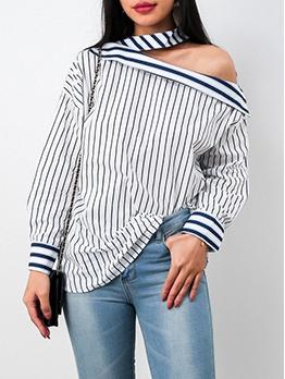 Off Shoulder Long Sleeve Striped Blouse For Women