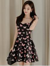 Butterfly Print Sleeveless A-Line Dress Elegant