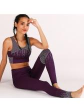 Breathable Print Sleeveless High Waist Yoga Sets