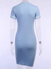 Turndown Neck Skinny Short Sleeve Knit Dress
