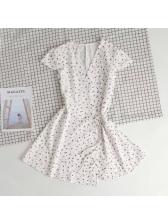 Summer V Neck Short Sleeve A-Line Wrap Dress
