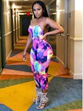 Animal Print Backless Sleeveless Maxi Dress For Women
