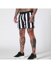 Contrast Color Drawstring Sporty Shorts For Men