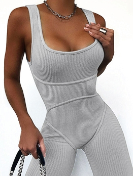 Casual U Neck Sleeveless Bodycon Romper