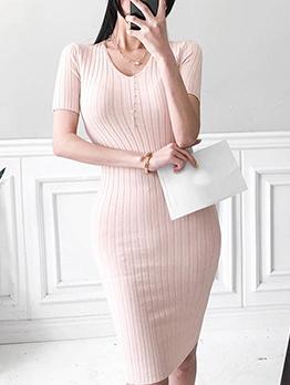 V Neck Short Sleeve Knit Dress For Women Casual