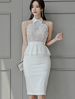 Turndown Collar Lace Patch Sleeveless Bodycon Dress