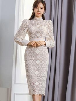 Mock Neck Lantern Sleeve Lace Midi Dress