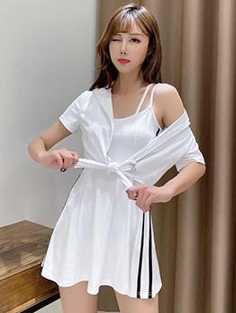 U Neck Solid Two Piece Dress Sets