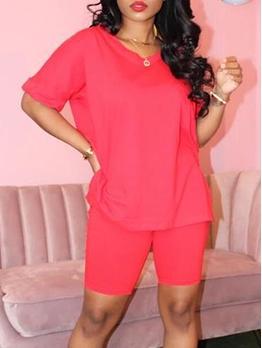 V Neck Solid Color Short Sleeve Women Sets Casual