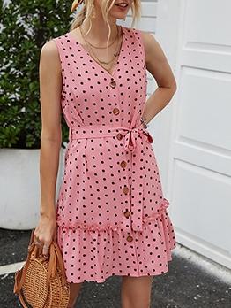 Single-Breasted Tie-Wrap Polka Dot Short Dress