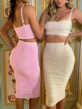 Hot Sale Draped Sleeveless Crop Cami With High Waist Skirt