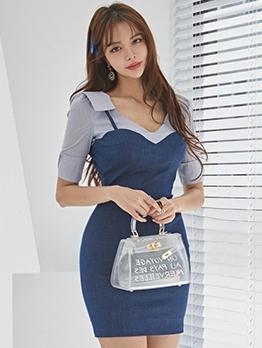 Fashion Contrast Color Patch Bodycon Women Dress