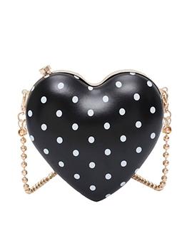 Polka Dot Sweet Heart Shape Mini Crossbody Bag