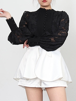 Stand Neck White Long Sleeve Lace Blouse