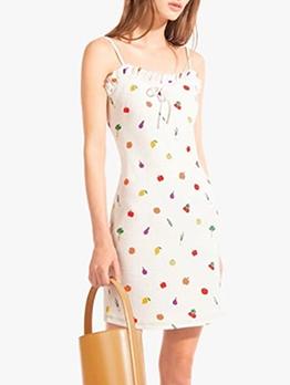 Fruit Print White Sleeveless Mini Sundress