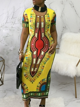 African National Print Short Sleeve Maxi Dress